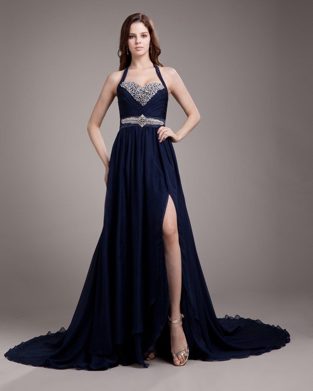 Halter Pleated Beading Floor Length Chiffon Woman Prom Dress