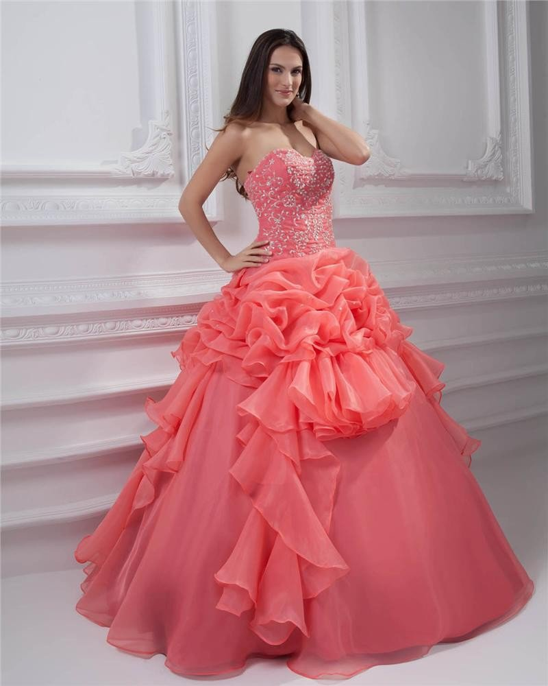 Ball Gown New Sleeveless Yarn Flowers Embroidery Ruffles Applique Sweetheart Floor Length Quinceaner