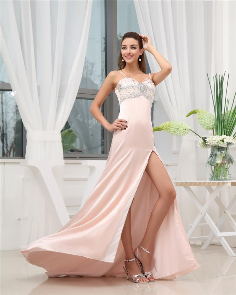 Spaghetti Straps Sleeveless Zipper Beading Floor Length Satin Woman Prom Dress
