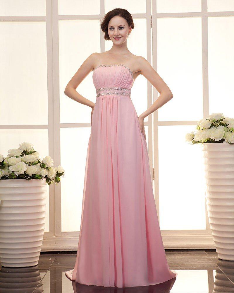 Empire Strapless Floor Length Classic Chiffon Prom Dress