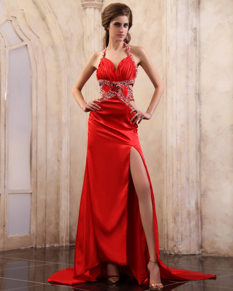 Sleeveless Charmeuse Beading Ruffles Chapel Train Prom Dresses