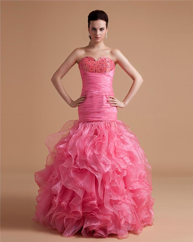 Sweetheart Organza Ruffle Beaded Applique Floor Length Prom Dresses