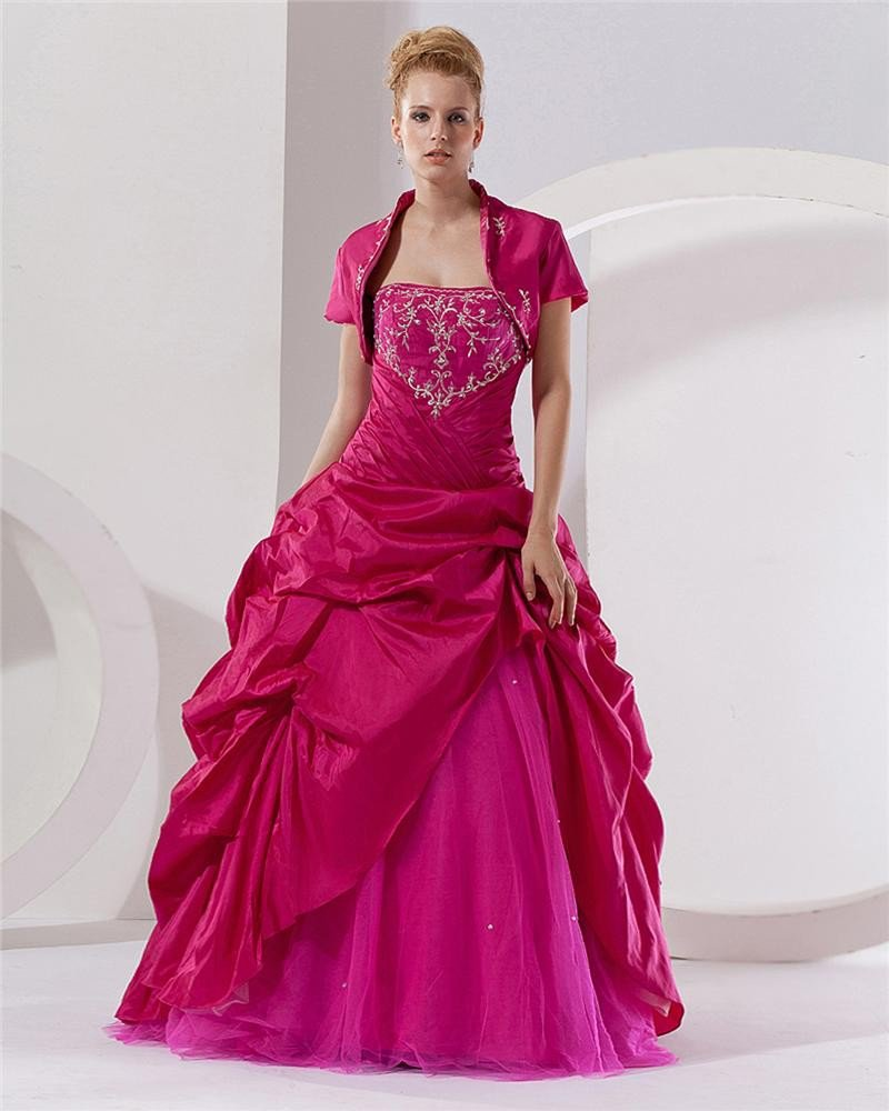 Ball Gown Strapless Floor Length Tulle Prom/Quinceanera Prom Dresses