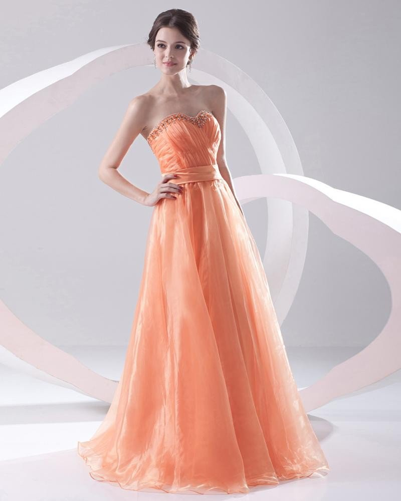 Fashion Organza Pleated Beaded Sweetheart Sleeveless Floor Length Prom Dress