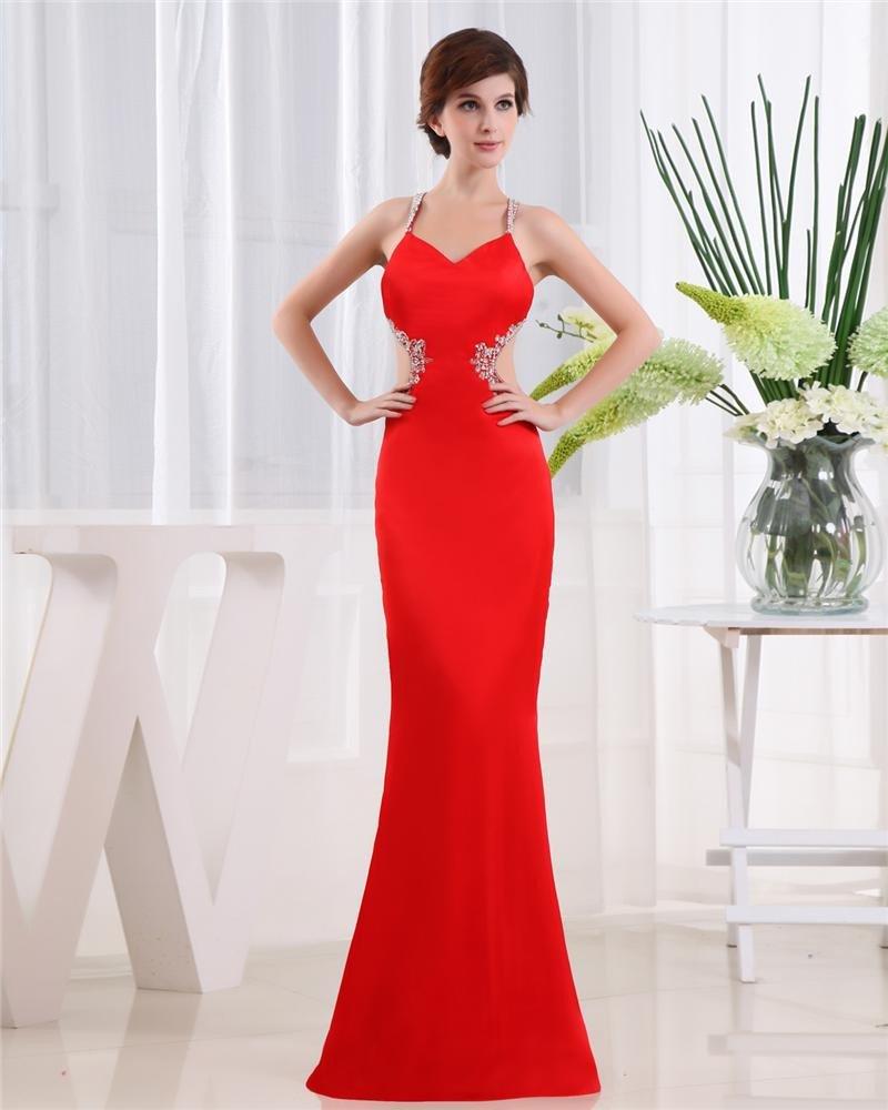 Spaghetti Straps Sleeveless Crossed Belt Floor Length Beading Satin Woman Prom Dress