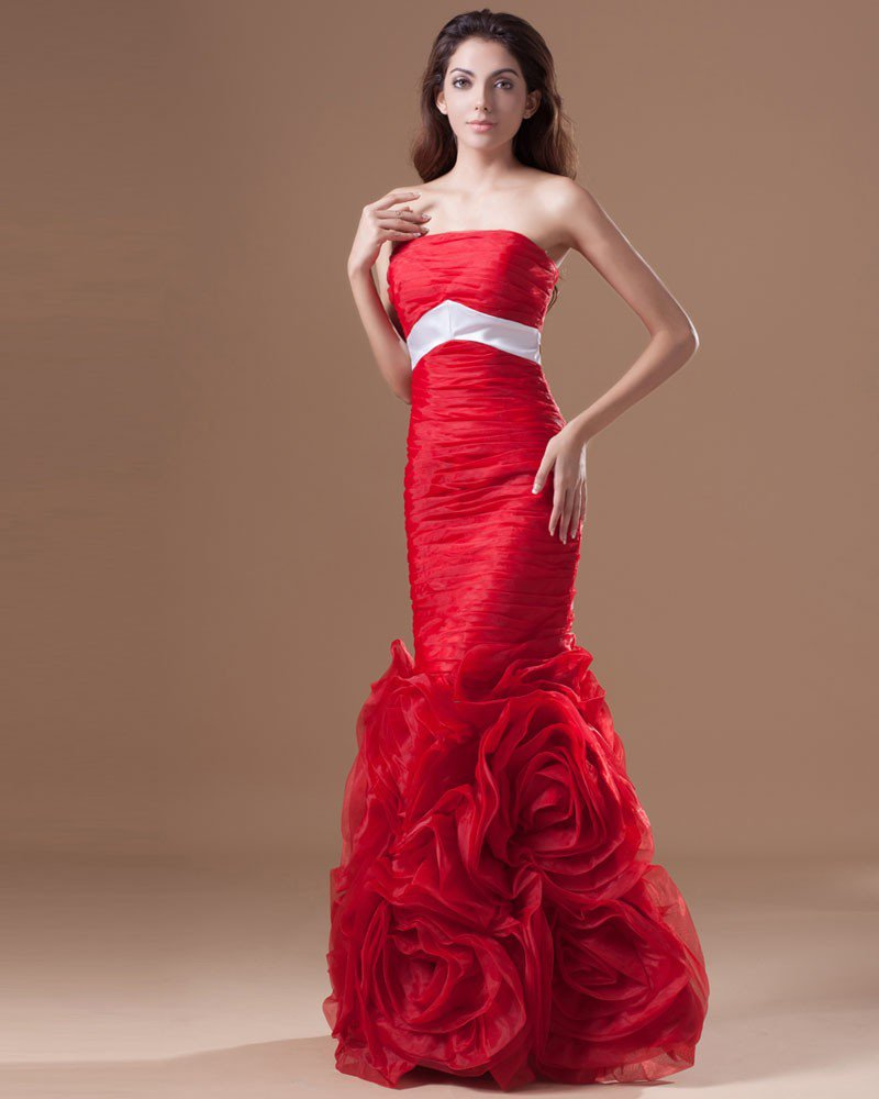 Organza Ruffle Flower Strapless Floor Length Prom Dress