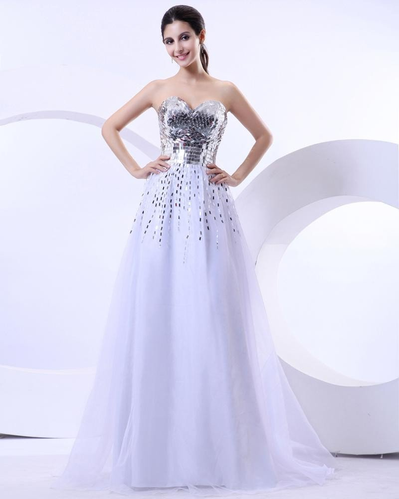 Ball Gown A-Line Tulle Sweetheart Sequins Floor-Length Tulle Prom Dresses