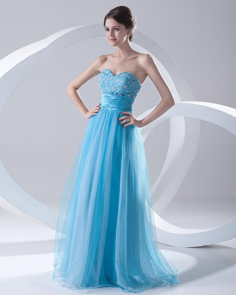Fashion Organza Satin Beaded Sweetheart Floor Length Prom Dress