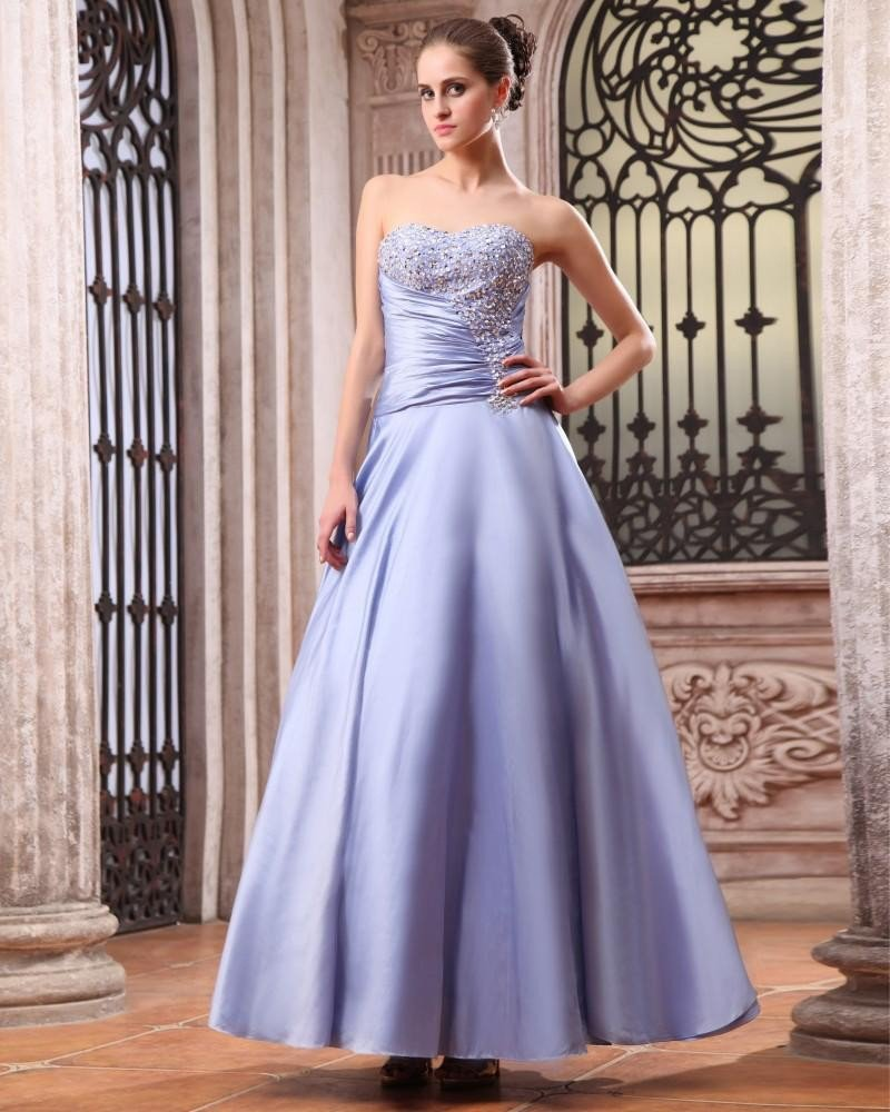 Sleeveless Taffeta Beading Ruffles Sweetheart Floor Length Prom Dresses