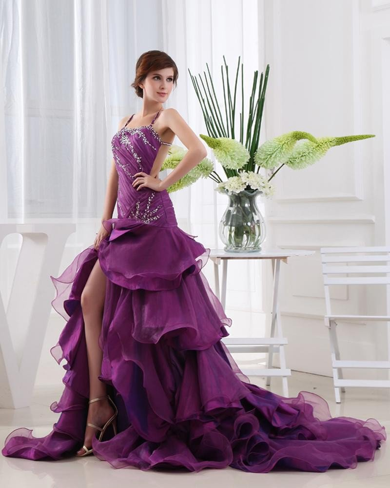 Organza Beading Ruffle Spaghetti Straps Sleeveless Backless Court Train Asymmetrical Tiered Prom Dre