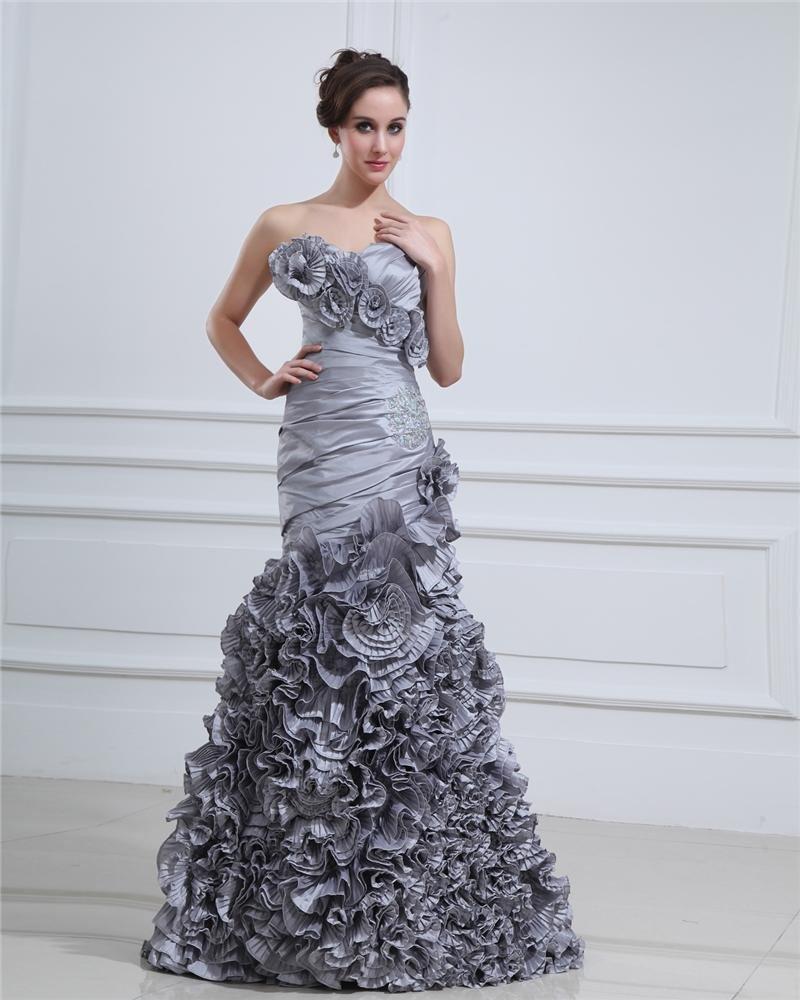 Taffeta Ruffle Flower Applique Beading Sweetheart Floor Length Prom Dress