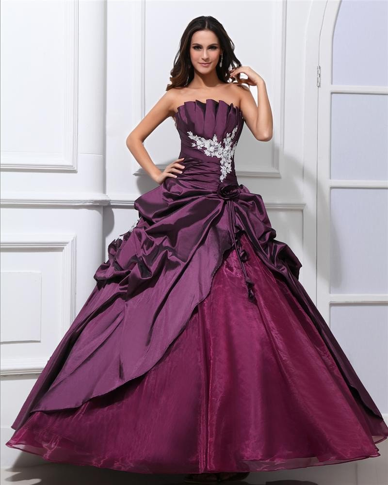 Ball Gown Taffeta Beaded Ruffle Applique Strapless Floor Length Quinceanera Prom Dresses
