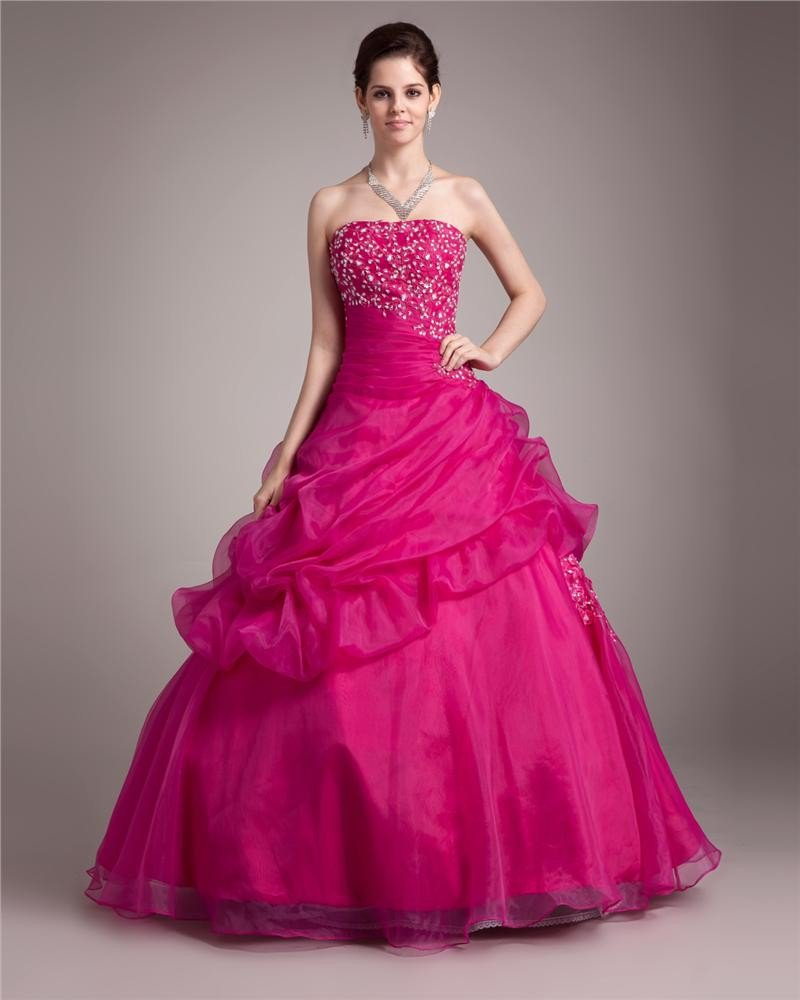 Ball Gown Strapless Floor Length Pleated Beading Satin Lace Women Quinceanera Prom Dress