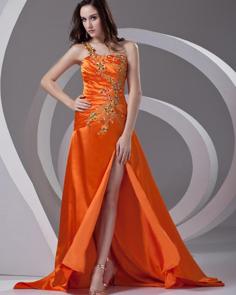 One Shoulder Embroidery Pleated Floor Length Charmeuse Woman Prom Dress