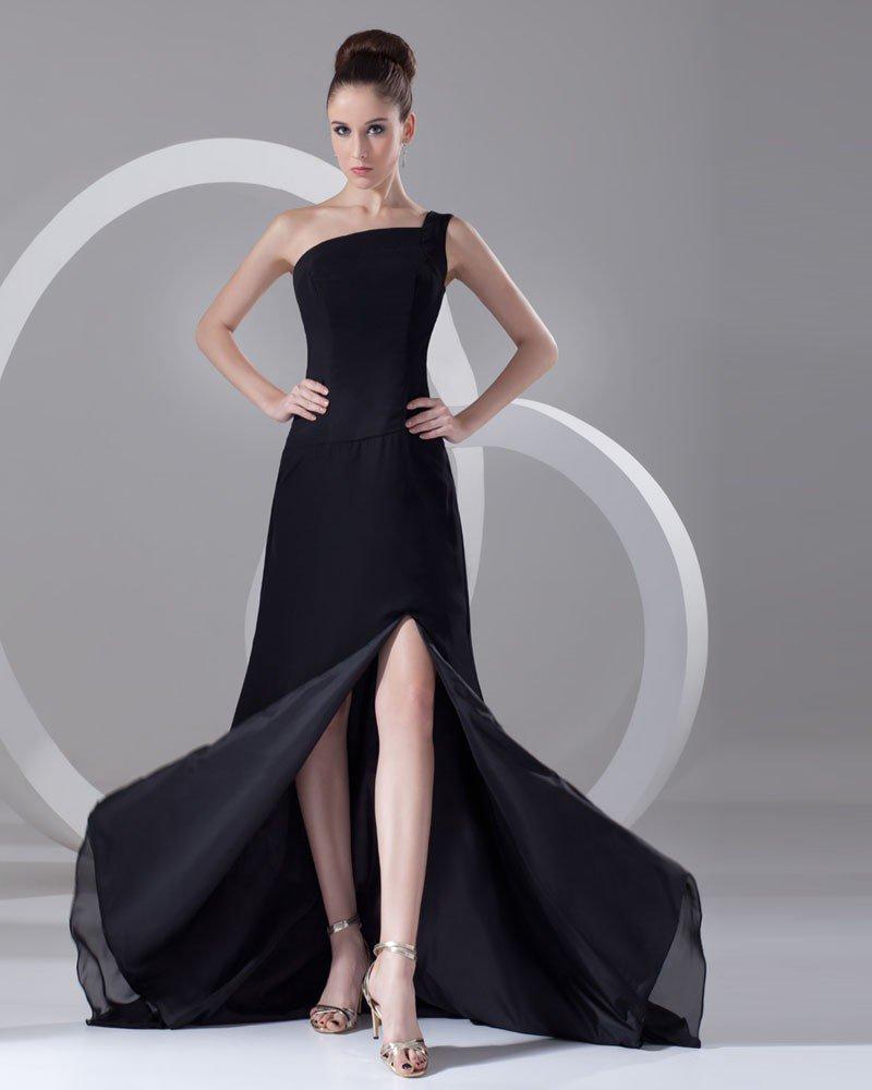 Sexy Solid One Shoulder Chiffon Floor Length Chapel Train Women Prom Dress