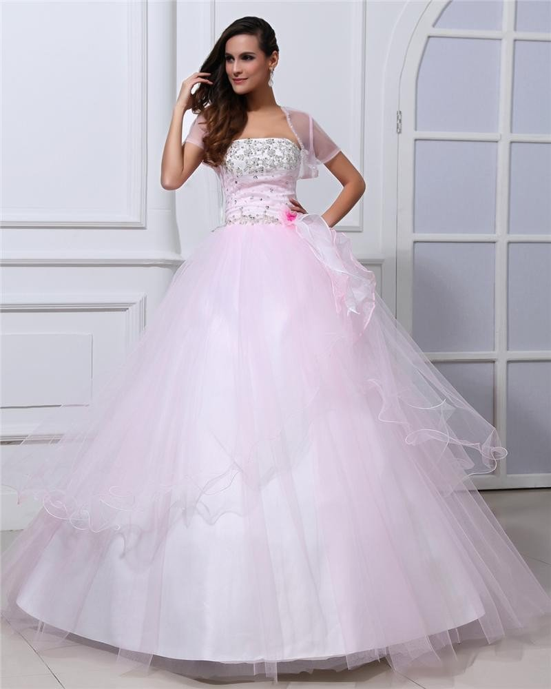 Ball Gown Beading Flowers Floor Length Quinceanera Prom Dresses