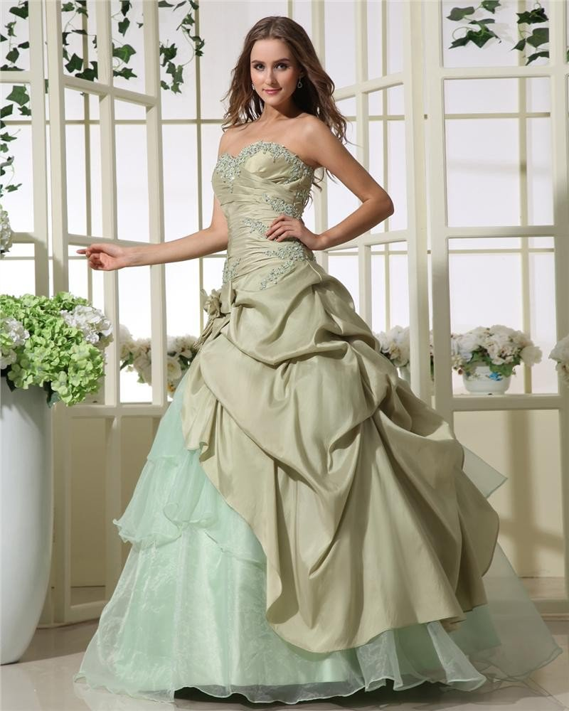 Ball Gown Chic Strapless Taffeta Beading Applique Ruffle Women Quinceanera Prom Dresses