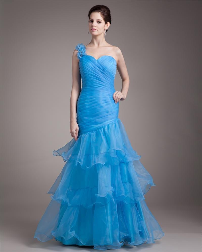 One Shoulder Floor Length Ruffles Pleated Organza Women Mermaid Prom Dress