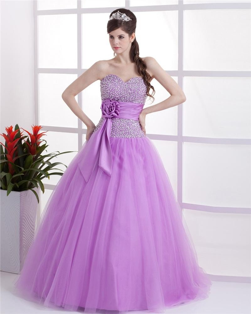 Ball Gown Satin Yarn Sash Ruffle Sweetheart Floor Length Quinceanera Prom Dress