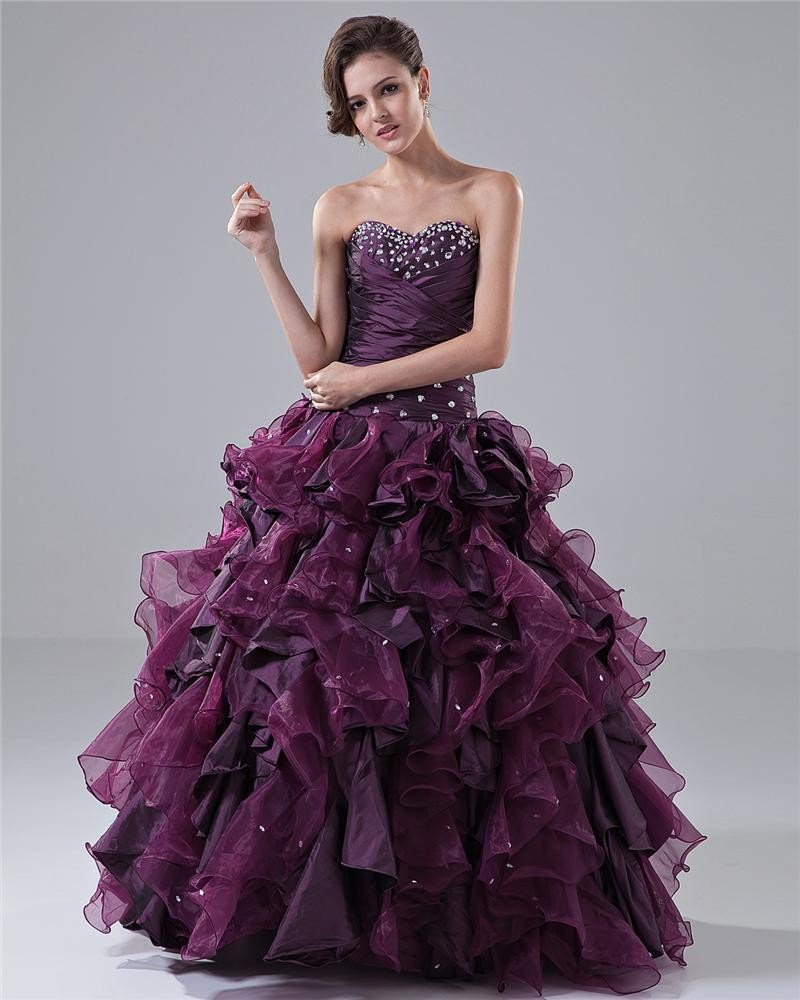 Ball Gown Sweetheart Ruffle Beading Floor Length Taffeta Quinceanera Prom Dress