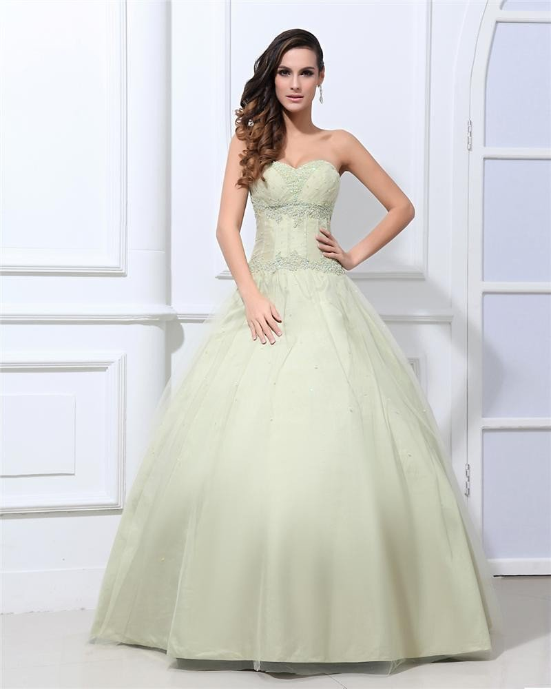 Ball Gown Taffeta Beading Floor Length Quinceanera Prom Dresses