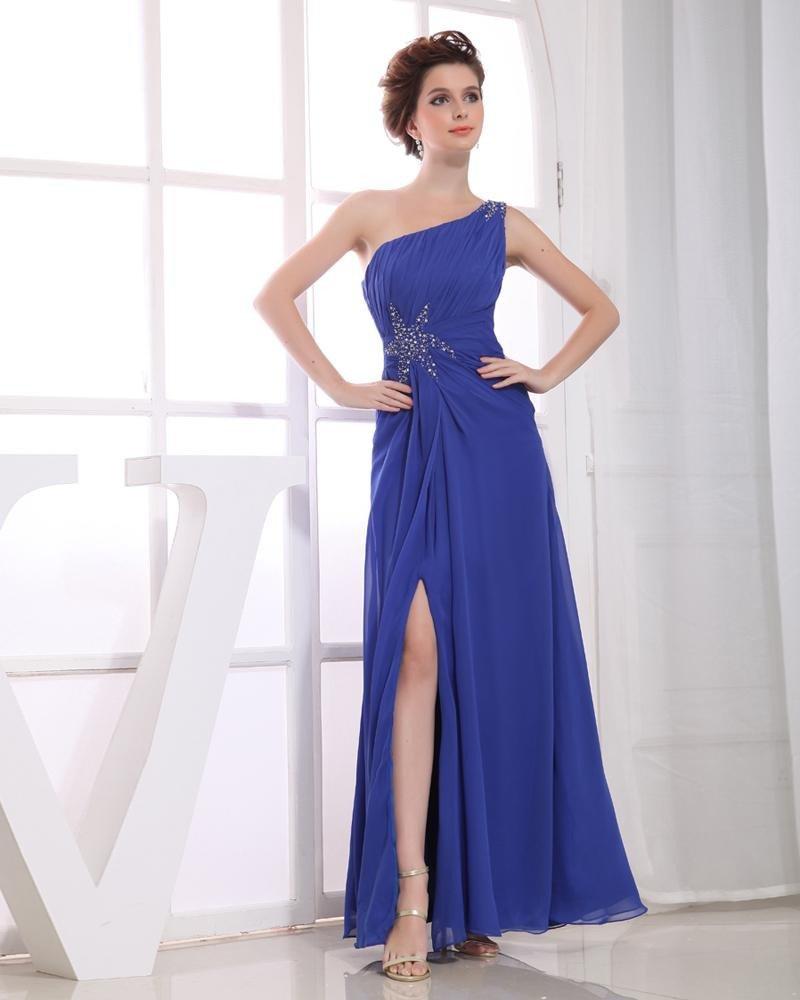 Chiffon Beading Star Slopping Ruffle Sleeveless Zipper Floor Length Pleated Slit Prom Dress