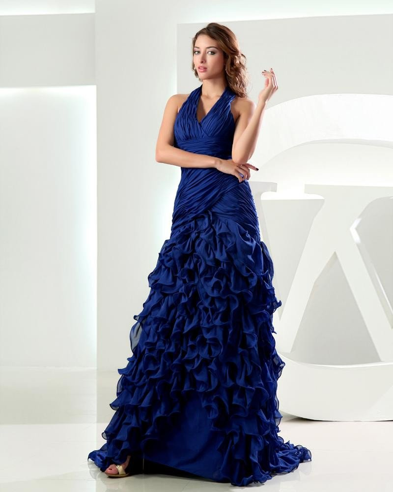 Halter Pleated Lotus Leaf Hem Sleeveless Zipper Floor Length Chiffon Woman Prom Dress