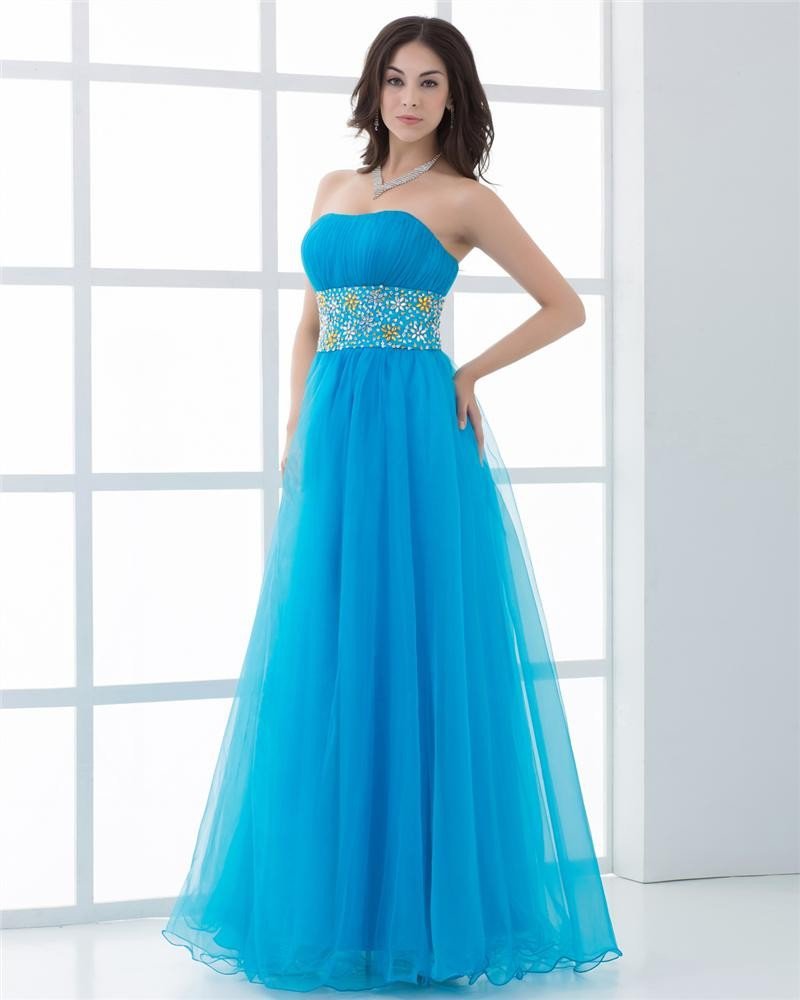 Ball Gown Organza Strapless Neckline Ruffle Manual Flower Pattern Floor Length Quinceanera Prom Dres
