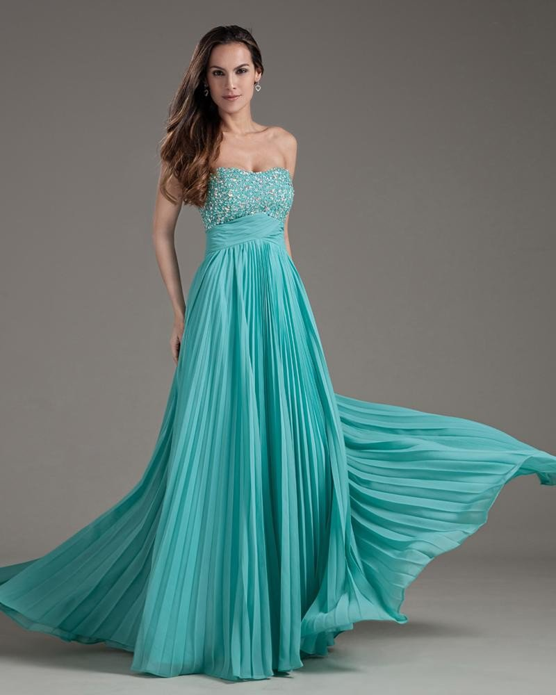 Chiffon Beaded Sweetheart Backless Floor Length Prom Dresses