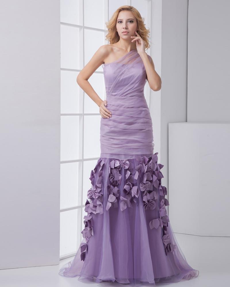 Fashion Organza Taffeta Pleated Applique Sloping Sleeveless Floor Length Prom Dress