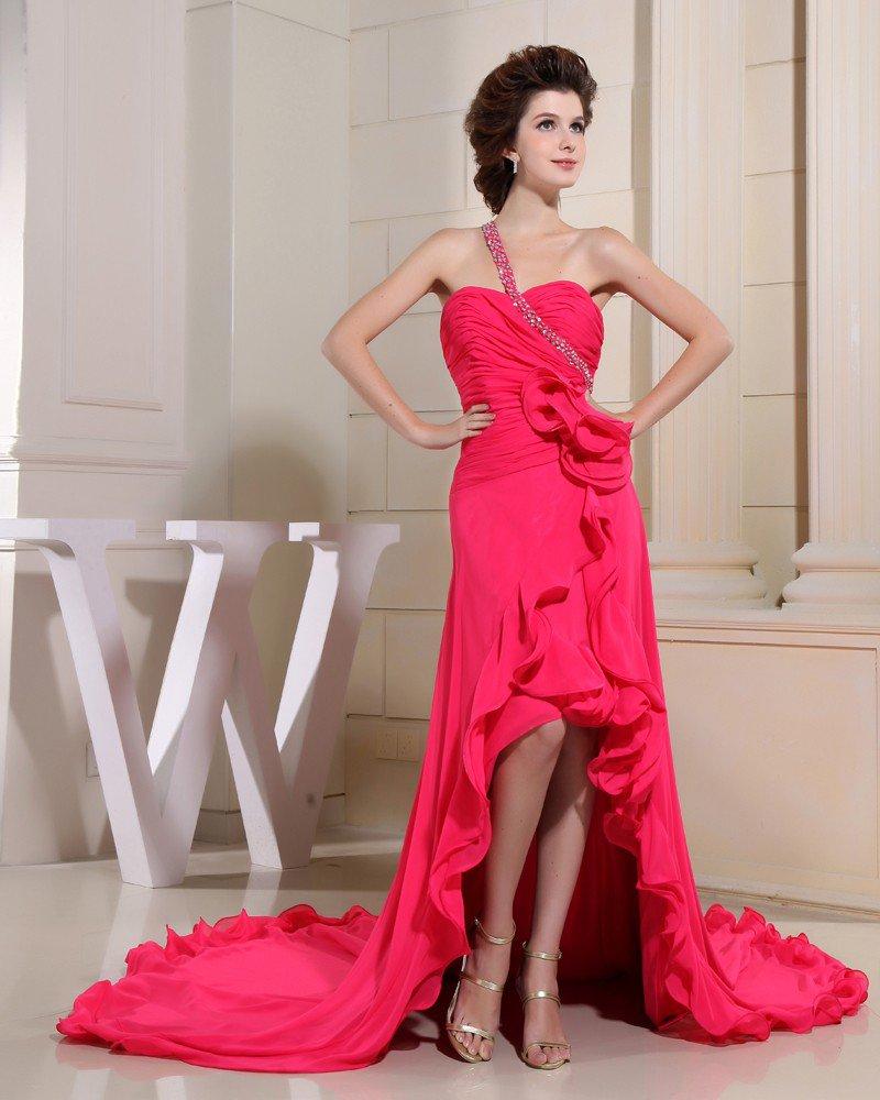 Chiffon Silk Silk Like Satin Sweetheart Beading Ruffle Sleeveless Backless Court Train Asymmetrical