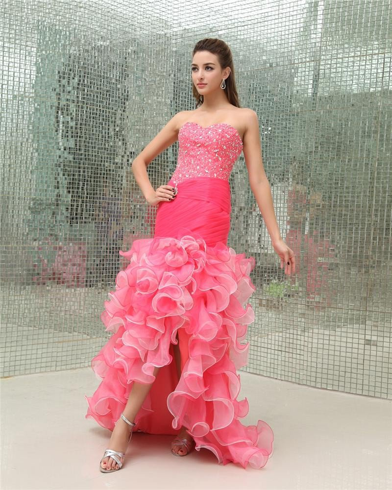 Sweetheart Sleeveless Zipper Beading Asymetrical Organza Woman Prom Dress