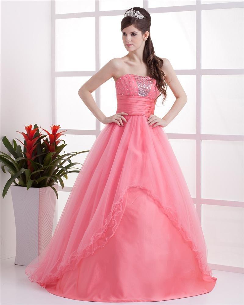 Grenadine Satin Bead Strapless Floor Length Cocktail Prom Dresses