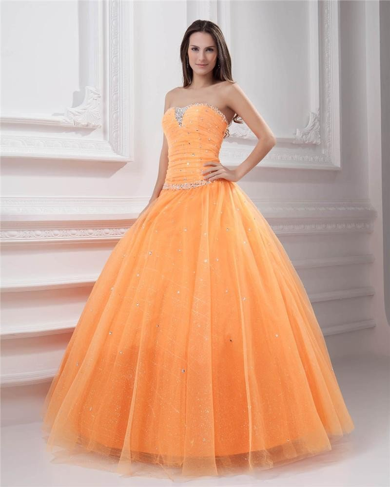 Ball Gown Tulle Beading Pleated Applique Strapless Floor Length Quinceanera Prom Dresses