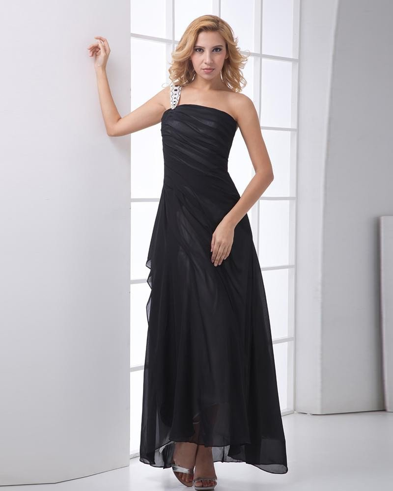 Fashion Chiffon Beaded One Shoulder Sleeveless Ankle Length Prom Dress