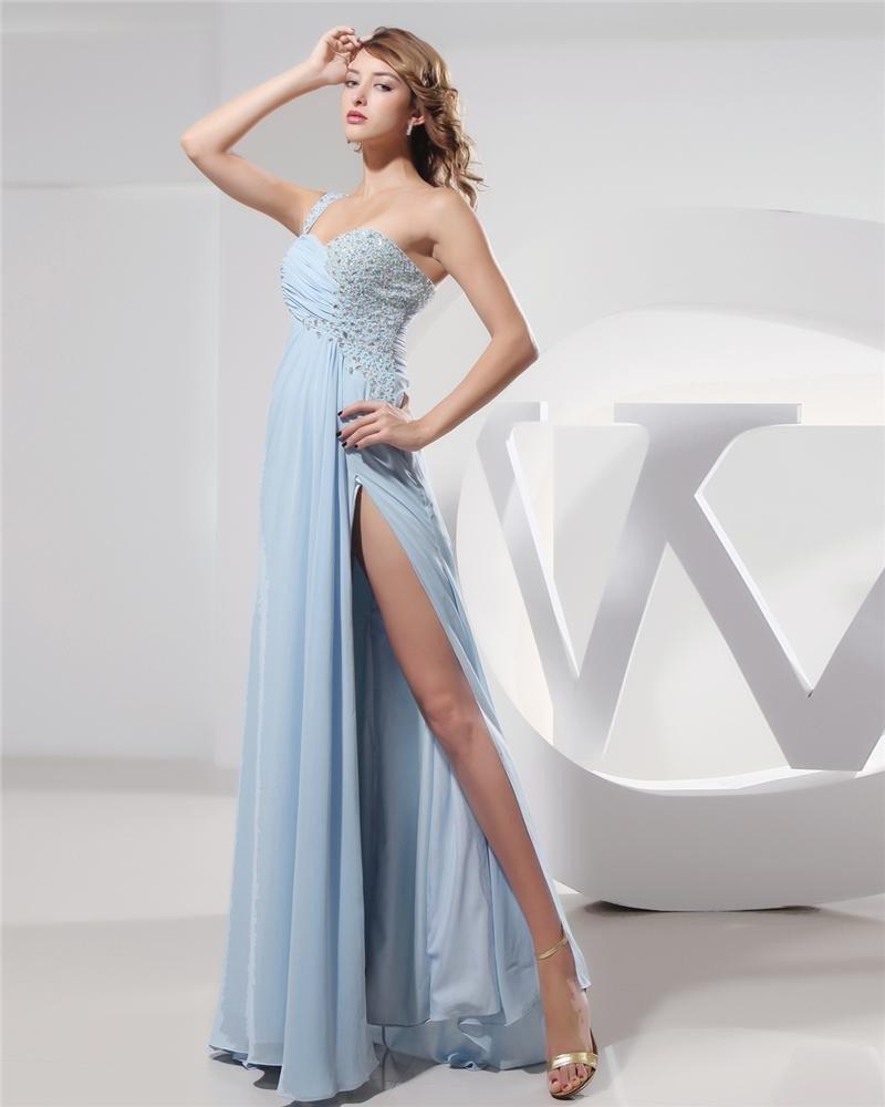 Sweetheart Beading Pleated Floor Length Chiffon Elastic Silk Like Satin Silk Woman Prom Dress