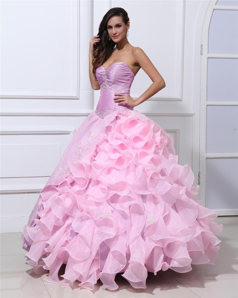 Ball Gown Taffeta Organza Beading Applique Ruffle Sweetheart Floor Length Quinceanera Prom Dresses