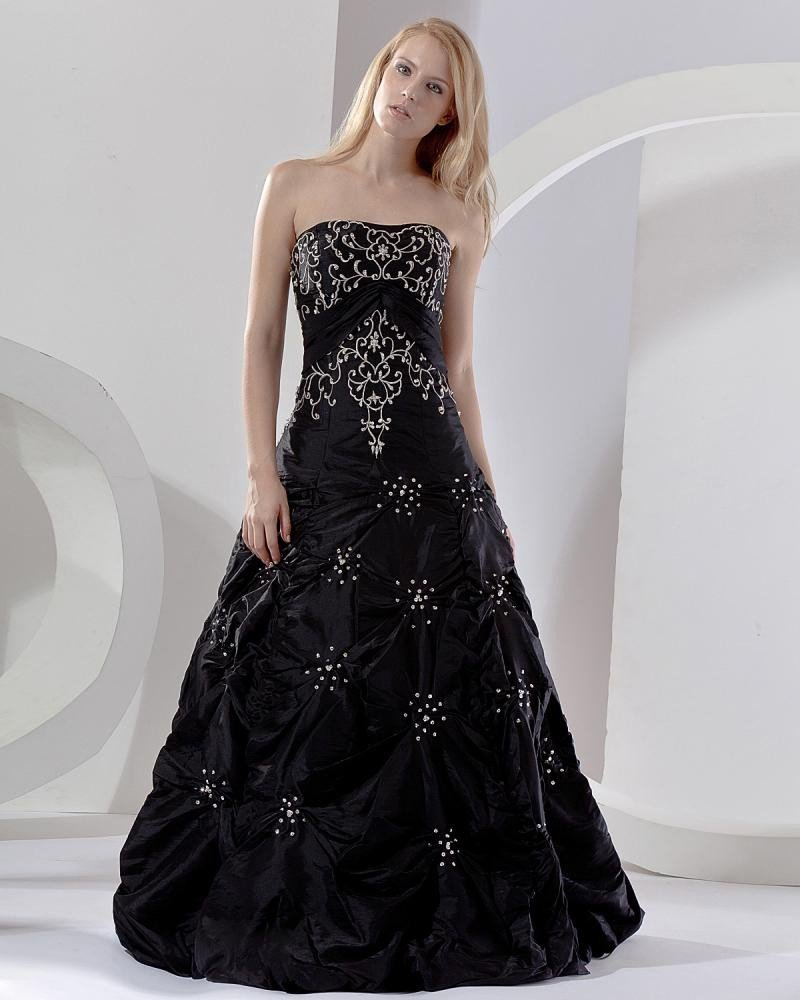 Ball Gown A-Line Strapless Floor Length Taffeta Prom Dress