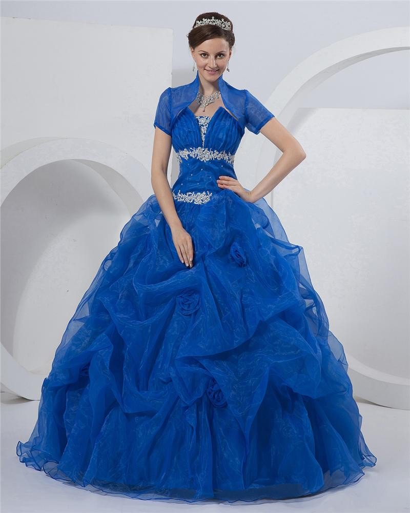Ball Gown Strapless Floor Length Organza Prom Quinceanera Prom Dresses