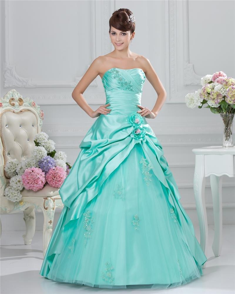 Ball Gown Cheap Strapless Beaded Taffeta Satin Prom Dresses