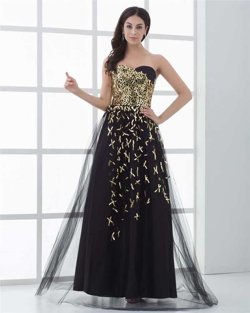 A-Line Sweetheart Floor Length Sequin Tulle Beading Prom Dresses