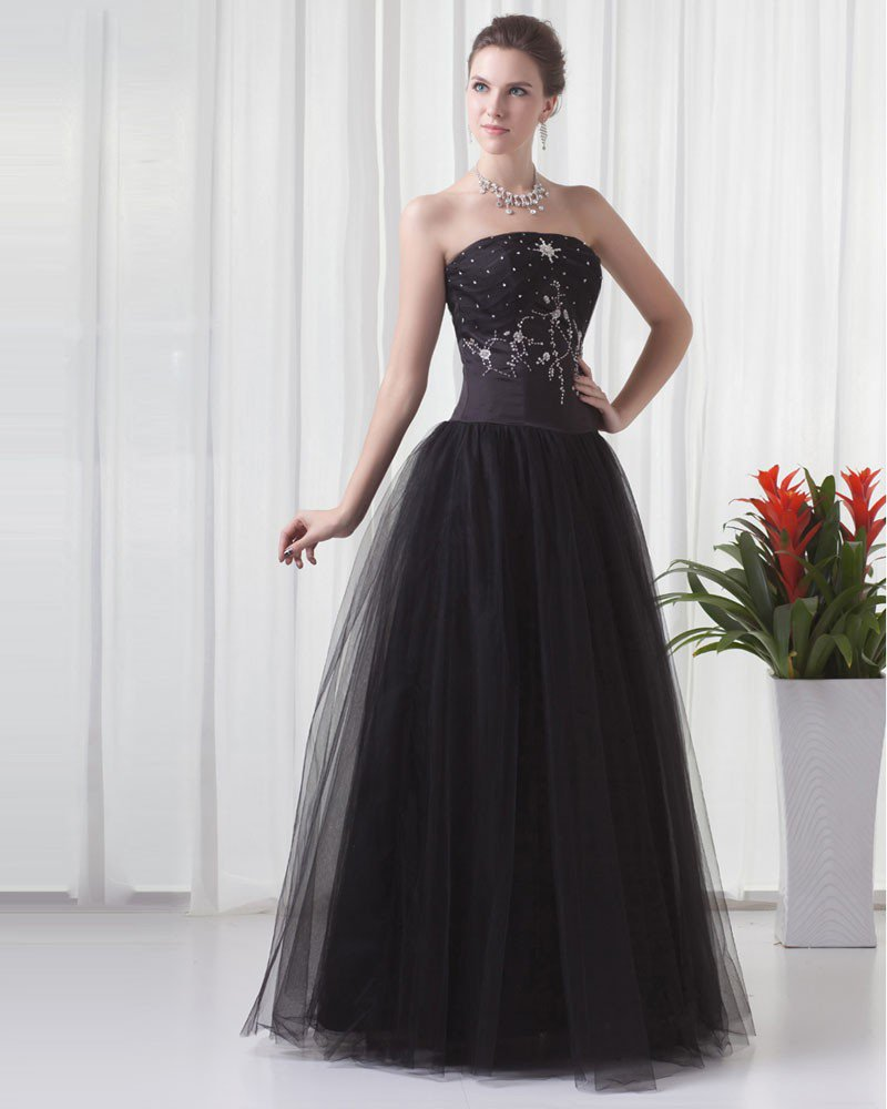 Charming Strapless Floor Length Beading Tulle Women Prom Dress