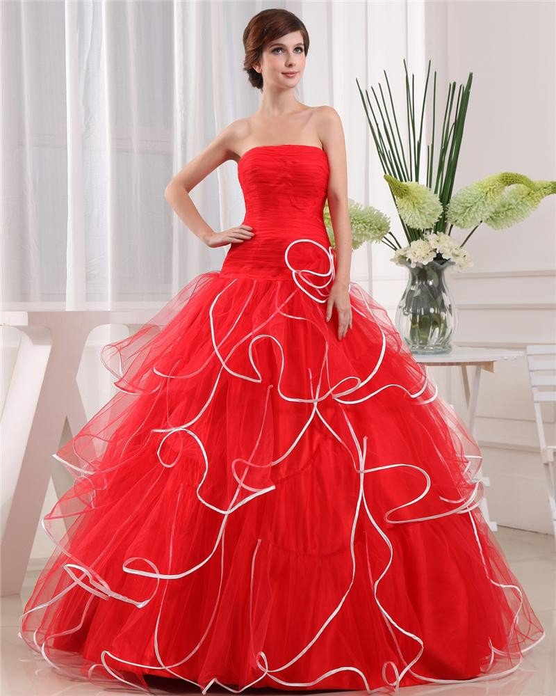 Ball Gown Strapless Zipper Sleeveless Flower Layered Floor Length Organza Charmeuse Woman Quinceaner