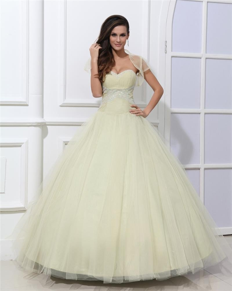 Ball Gown Beautiful A-Line Sweetheart Strapless Beaded Tulle Quinceanera Prom Dresses