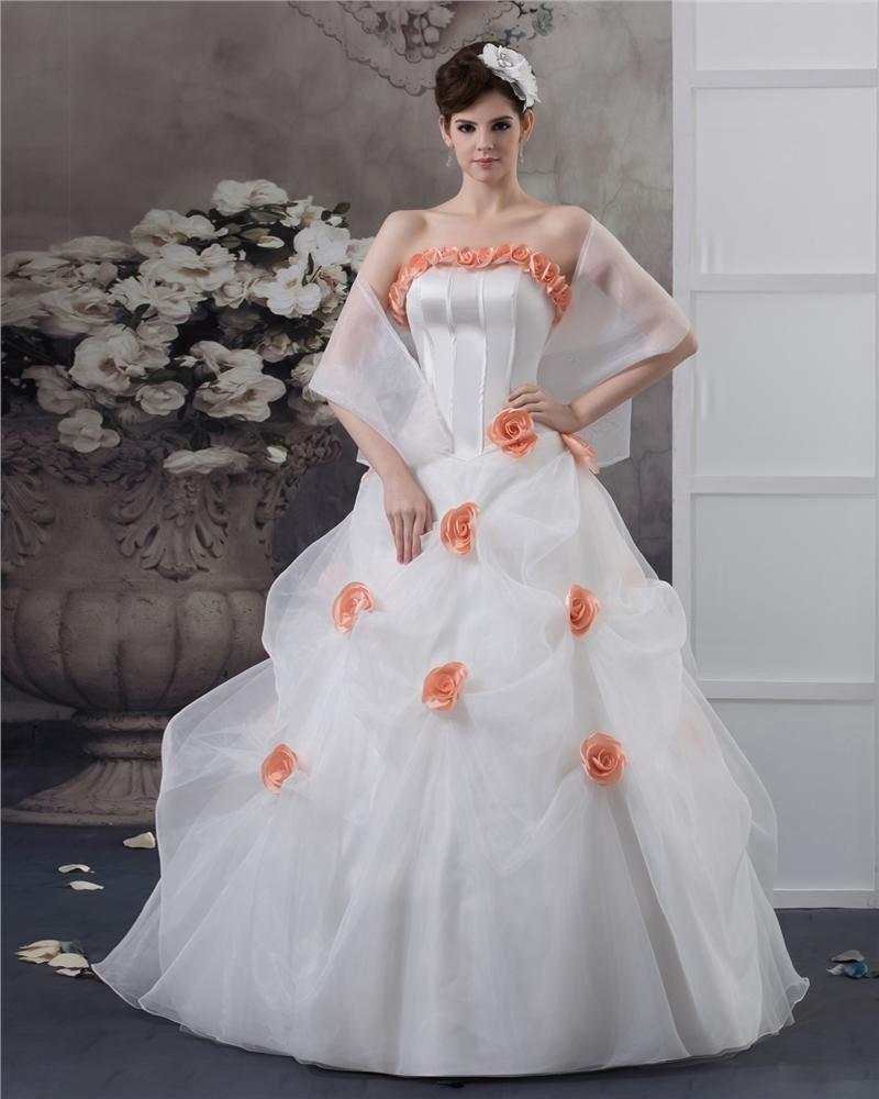 Ball Gown Satin Organza Flower Strapless Floor Length Quinceanera Prom Dress