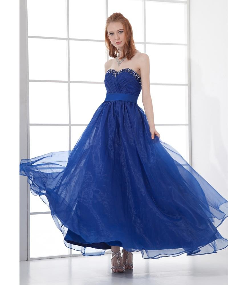 Fashion Organza Pleated Sweetheart Ankle Length Prom Dress