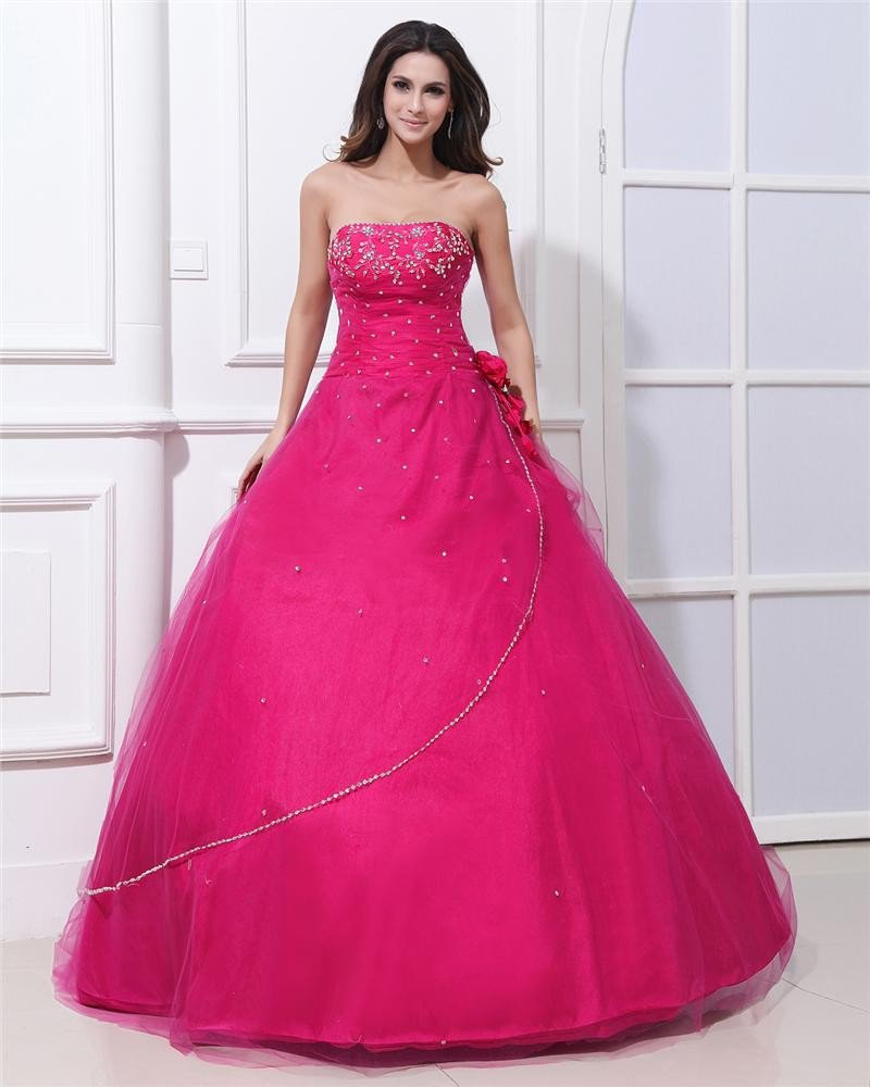 Ball Gown Yarn Satin Flower Beading Strapless Floor Length Quinceanera Prom Dresses