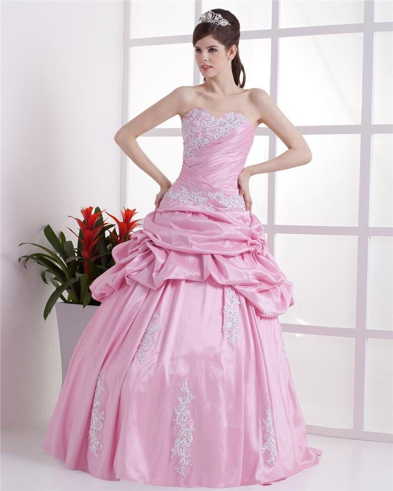 Ball Gown Flowers Embroidery Ruffles Applique Sweetheart Floor Length Quinceanera Prom Dresses