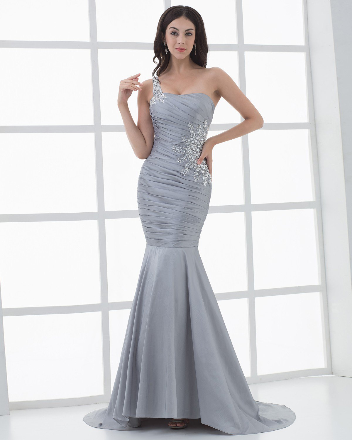 Satin One Shouder Ruffles Beading Mermaid Floor Length Women's Evening Prom Dress