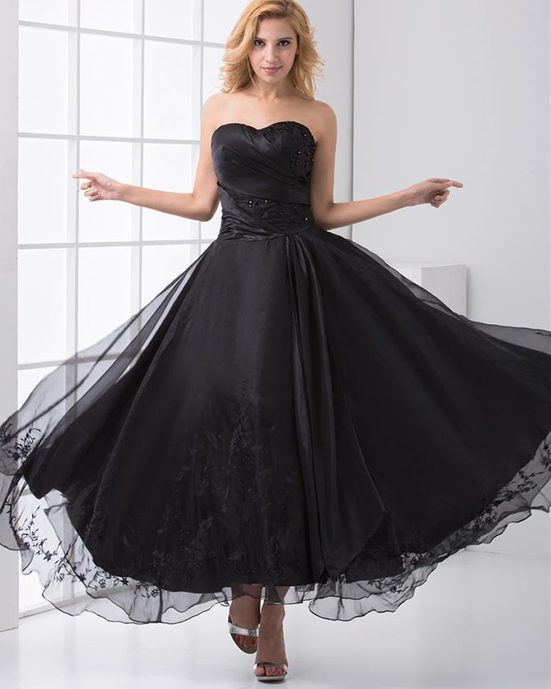 Fashion Organza Satin Embroidery Beaded Sweetheart Ankle Length Prom Dress